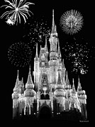 Walt Disney World Photographs Framed Prints - Magic Kingdom Castle in Black and White with Fireworks Walt Disney World Framed Print by Thomas Woolworth