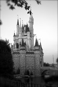 Magic Kingdom Photographs Prints - Magic Kingdom Castle Side View in Black and White Print by Thomas Woolworth