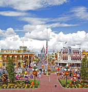 American Flag Pyrography Prints - Magic Kingdom - Main St. USA Print by AK Photography