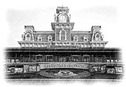 Train Station Drawings - Magic Kingdom - Pencil by Jenny Hudson