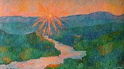 River Paintings - Magic Light at Carvins Cove by Kendall Kessler