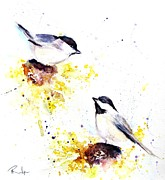 Chickadee Drawings Prints - Magic Moments  Print by Andrea Realpe