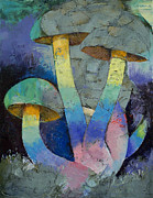 Mushrooms Paintings - Magic Mushrooms by Michael Creese