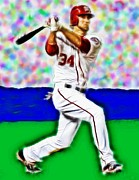Baseball Player Drawings Framed Prints - Magical Bryce Harper Connects Framed Print by Paul Van Scott