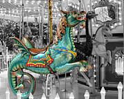 Laugh Metal Prints - Magical Carousel Seahorse Metal Print by Sabrina L Ryan