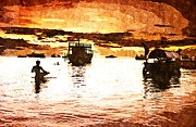 Pirates Digital Art Originals - Magical Indian Ocean Sunset Watercolor by Amyn Nasser