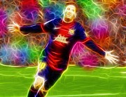 Soccer Drawings Prints - Magical Lionel Messi Print by Paul Van Scott