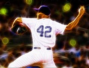 Pitcher Drawings Metal Prints - Magical Mariano Rivera Metal Print by Paul Van Scott