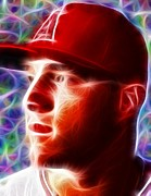 Mlb Drawings - Magical Mike Trout by Paul Van Scott