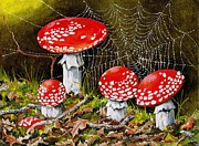 Forest Floor Paintings - Magical Mushrooms no 2 by Val Stokes
