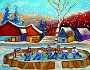 Hockey In Montreal Paintings - Magical Pond Hockey Memories Hockey Art Snow Falling Winter Fun Country Hockey Scenes  Spandau Art by Carole Spandau