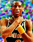 Basketball Sports Drawings Prints - Magical Reggie Miller Choke Print by Paul Van Scott