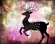 Wildlife Celebration Digital Art Prints - Magical Reindeers Print by Barbara Orenya