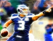 Quarterback Drawings - Magical Russell Wilson by Paul Van Scott