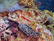 Green Sea Turtle Painting Metal Prints - Magical Sea Turtle Metal Print by Sharon Farber