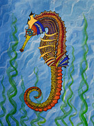 Fanciful Painting Framed Prints - Magical Seahorse Framed Print by Suzette Kallen