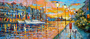 Park Scene Paintings - Magical sunset by Dmitry Spiros