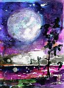 Ginette Fine Art LLC Ginette Callaway - Magical Swamp Lights Big Moon