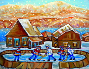 Winter Sports Paintings - Magical Wonderland Kids Playing Rink Hockey Falling Snow Our Hockey Nation Country Scene Memories by Carole Spandau