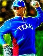 Baseball Player Drawings Framed Prints - Magical Yu Darvish Framed Print by Paul Van Scott