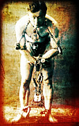 Houdini Posters - Magician Harry Houdini in Chains   Poster by The  Vault - Jennifer Rondinelli Reilly