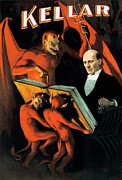 Lithographs Photos - Magician Harry Kellar and Demons  by The  Vault - Jennifer Rondinelli Reilly
