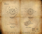 Cogs Paintings - Magneto System Blueprint by James Christopher Hill