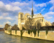 Historic Site Digital Art Prints - Magnificent Notre Dame de Paris Print by Mark E Tisdale
