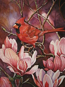 Cheryl Borchert Posters - Magnolia Cardinal Poster by Cheryl Borchert