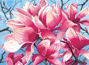 Realistic Watercolor Posters - Magnolia Medley Poster by Barbara Jewell