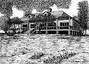 Cotton Drawings Prints - Magnolia Mound Plantation Print by Bruce Kay