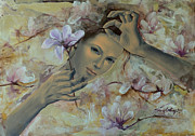 Live Art Posters - Magnolias Poster by Dorina  Costras