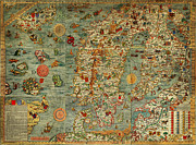 Old Map Paintings - Magnus map of Scandinavia 1529 by MotionAge Art and Design - Ahmet Asar