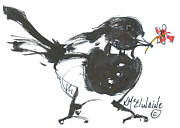 Kathleen Prints - Magpie Bird With a Red Flower Print by Kathleen McElwaine