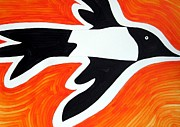 Magpies Paintings - Magpie original painting SOLD by Sol Luckman
