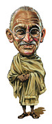 Caricature Paintings - Mahatma Gandhi by Art