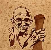 Gandhi Prints - Mahatma Gandhi coffee painting Print by Georgeta  Blanaru