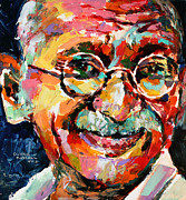 Portraits Paintings - Mahatma Gandhi by Derek Russell
