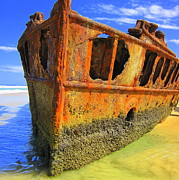 Maheno Shipwreck Print by Ramona Johnston