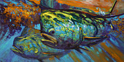 Sportfishing Painting Posters - Mahi At Sunset Poster by Mike Savlen