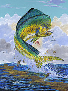 Marine Art Prints - Mahi Hookup Off0020 Print by Carey Chen