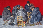 Beijing Paintings - Mahjong players by Patricia Cotterill