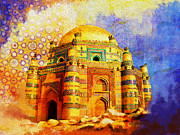 Historic Buildings Drawings Posters - Mai Jwandi Tomb on Makli Hill Poster by Catf
