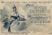 American Food Framed Prints - Maid Serving Coffee Advertisement for Woods Duchess Coffee Boston  Framed Print by American School