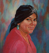 Indian Pastels Prints - Maiden from Jemez Pueblo Print by Ann Peck