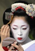 Flowers On Head Posters - Maiko Applying Make-up Poster by Jeremy Hoare