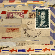 Postage Stamps Prints - Mail Collage Eva Peron Print by Carol Leigh