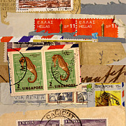Postage Stamps Prints - Mail Collage Singapore Seahorse Print by Carol Leigh