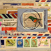 Postage Stamps Prints - Mail Collage South Africa Print by Carol Leigh