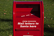 Mail Box Metal Prints - Mail Letters To Santa Here Metal Print by Garry Gay